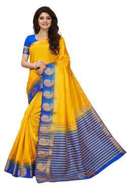 16to60trendz Yellow and Blue Tusar Silk Handloom Art Work Kanjivaram saree $ SVT00014