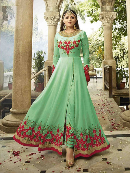 YOYO Fashion Latest Fancy Semi-stitched Faux Georgette Embroidered Anarkali Salwar Suit $F1250-C Green