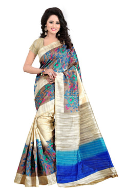 16TO60TRENDZ Beige Color Printed Bhagalpuri Silk Saree $ SVT00442
