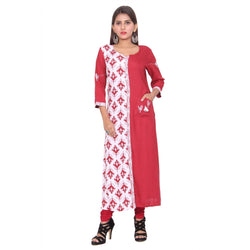 Chhapai 3/4 Sleeve Printed Red Straight Cotton Kurti $ CK-1036
