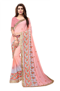 YOYO Fashion Embroidered Georgette Peach Saree With Blouse $ SARI2612