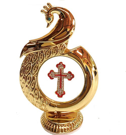 INTERNATIONAL GIFT Gold Plated Peacock Shape Jesus Christ God Idol for Car Dashboard-12 Cm $ IGSPBR1058