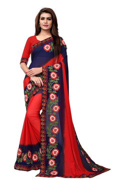 YOYO Fashion Embroidered Georgette Red Saree With Blouse $ SARI2613-Red