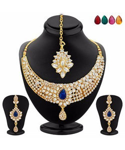 Sukkhi Stylish Gold Plated AD Necklace Set with Set of 5 Changeable Stone
