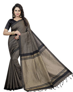 Muta Fashions Women's Unstitched Cotton Polyester Silk Black Saree $ MUTA1467