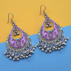 Purple Silver Plated Meenakari Afghani Earrings