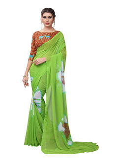 YOYO Fashion Printed Georgette Green Saree With Blouse $ YOYO-SARI2617-Green