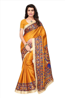 BL Enterprise Women's Bhagalpuri Cotton Silk Kalamkari Yellow Color Saree With Blouse Piece $ BLLB-29