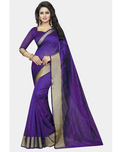 Muta Fashions Women's Unstitched Cotton Polyester Silk Purple Saree $ MUTA1636