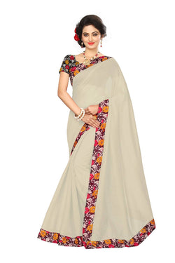 16to60trendz Beige Chanderi Lace Work Chanderi Saree $ SVT00214