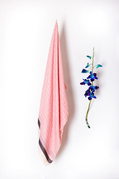 Cotton Polyester Pink Printed Stoles-SH0041