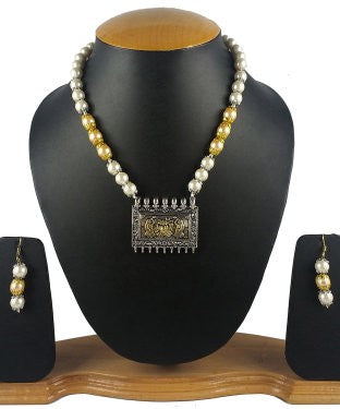 Aradhya Stone Jewel Set (White, Gold)