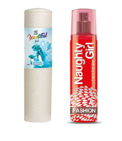 BEAUTIFUL TALC 250gm MESMERIC & Naughty Girl FASHION 135 ml (Set of 2 for Women)