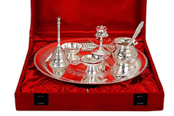 International Gift German Silver Pooja Thali Set with Gold Box (7 Pcs Set, Silver) Exclusive Gift for Diwali Gift Items and Wedding Gift Items $ IGF-101