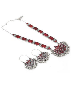 Aradhya Brass, Enamel, Metal Jewel Set (Red, Silver)