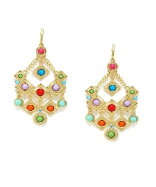 Golden Peacock Multi Colour Teardrop Hanging Earring