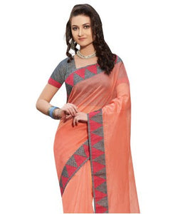 Laethnic Peach Plain Supernet Saree