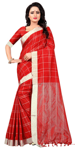 YOYO Fashion Latest Fancy Linan Cottan Red Saree $ SARI2584 Red