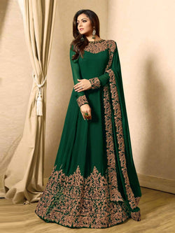 YOYO Fashion Latest Fancy Semi-stitched Faux Georgette Embroidered Anarkali Salwar Suit $YO-F1220-Green