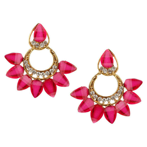 Parna Rich Pink Crystal Diamond Alloy Gold Plated Drop Earring $ EAR-202