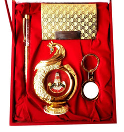 Gold Plated Ball Pen with Visiting Card Holder with Key Ring and Peacock Shape Hindu God Tirupati/Thirupathi Balaji Idol South Indian for Car Dashboard 12 cm with Velvet Box $ IGSPBR101058