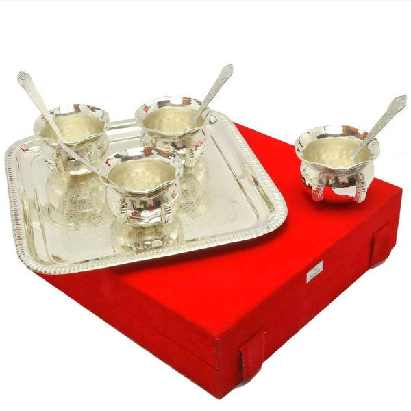 German Silver Handi and Gold Plated Spoon and Gold Plated Tray (9 Pcs Set) with Beautiful Red Velvet Box Packing Exclusive Gift Items for Diwali Gift, Wedding Gift and Corporate Gift $ IGSPBR101042