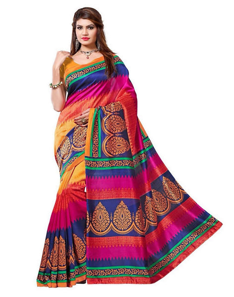 16TO60TRENDZ Multi Color Printed Bhagalpuri Silk Saree $ SVT00461