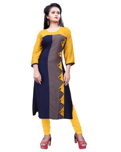 Muta Fashions Women's Semi Stitched Casual Rayon Yellow Kurti $ KURTI396