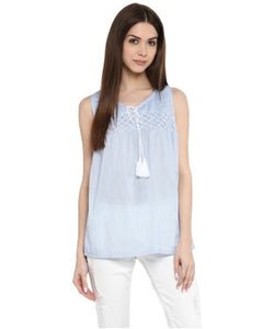 Miway Blue & white Solid Top