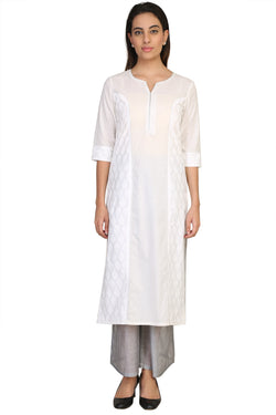 Vaniya Women Cotton Kurta White Printed Kurti $ VN-K103