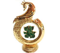 Gold Plated Peacock Shape Ganesh God Idol Car Dashboard (12 Cm, Gold) Exclusive Gift Items for Diwali Gift, Wedding Gift and Corporate Gift $ IGSPBR1059