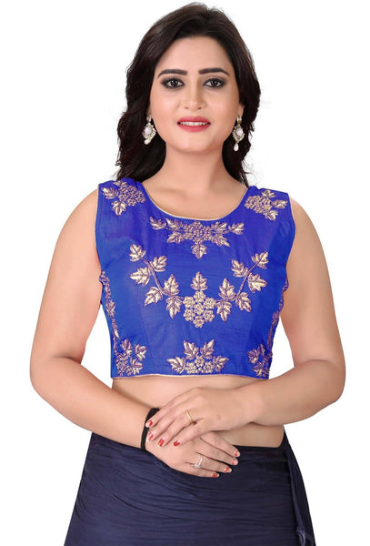 YOYO Fashion Dark Blue Silk Embriodered Extra Sleeve With Blouse $BL4001-Dark Blue