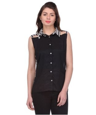 Glam a gal black and white s/l shirt