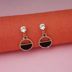Tanishka Fashion Black Enamel Crystal Stone Gold Plated Stud Earrings $ 1312850D