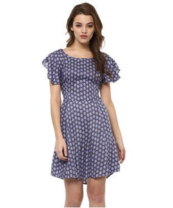 Miway Blue Printed Skater Dress