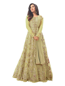 YOYO Fashion Latest Fancy Semi-stitched  Net Embroidered Anarkali Salwar Suit Gown$F1211-Light Green