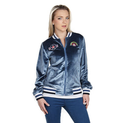London Rag Women's Metalluc Blue Jacket-CL7069