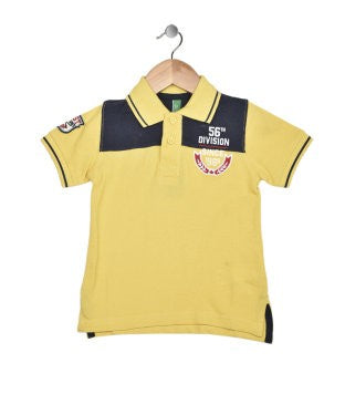 United Colors Of Benetton Yellow And Navy Polo S/S