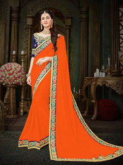 Fashion Zonez Zari Embroidered with lace border Georgette Orange Designer Saree With Blouse $FZ 1998