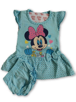Minnie Printed Frock Combo With Panty Blue $ CP_SC012