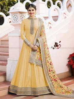 YOYO Fashion Semi-stitched Sana Silk Embroidered Anarkali Salwar Suit $YO-F1214-Yellow