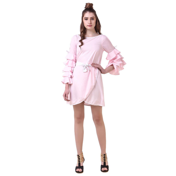 Fame 16 Puff Sleeves Solids Women's Round Neck Pink Crepe Dress $ F16-1600155