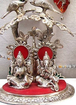 INTERNATIONAL GIFT Aluminium Oxidized Laxmi Ganesha Tree Idol(Standard, Silver) $ GSI-133