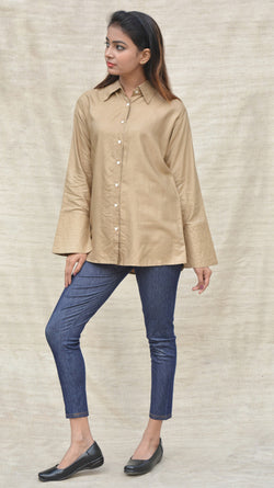 Beige Khadi Silk Shirt Collar Top $ IWK-000270
