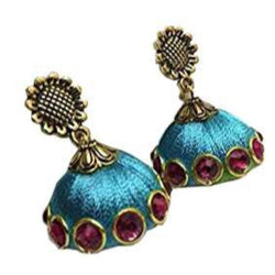 Ailsie Stylish Jhumka Earrings For Women Fashion Beautiful Sliver Antique Flower Design Silk Thread Earring Sky Blue
