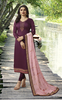 YOYO Fashion Purple Georgette Straight Semi-Stitched Salwar Suit With Dupatta $ F1279
