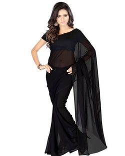Muta Fashions Women's Unstitched Georgette Black Saree $ MUTA202