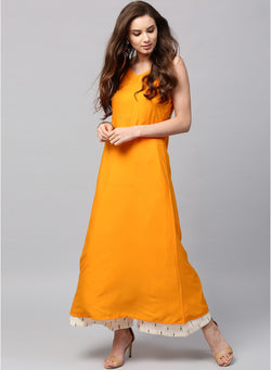 Fuoko  Yellow Color Crepe Women Partywear Kurtis - FWAPKU027YEL