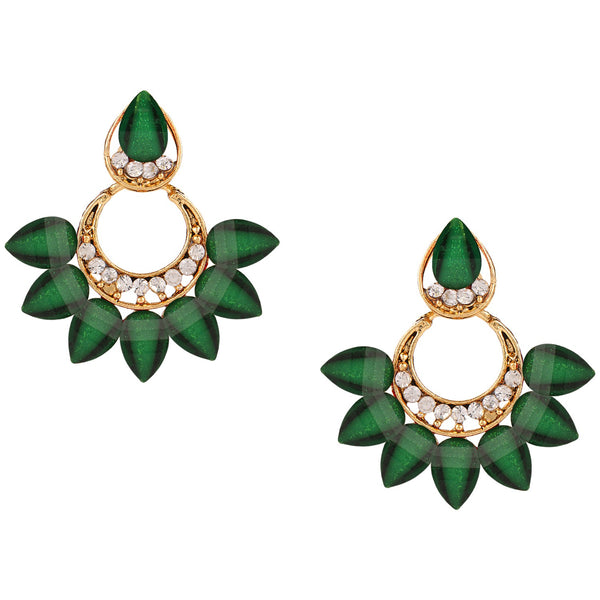 Parna Natural Green Crystal Diamond Alloy Gold Plated Drop Earring $ EAR-206