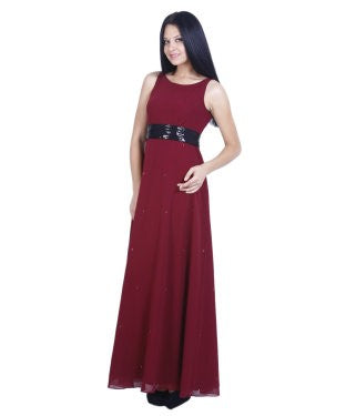 Drapes & Silhouettes Maroon Semi Stitched Gown